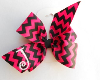 Chevron Initial Hair Bow- Monogrammed Letter- Custom- Boutique- Shocking Pink- Black