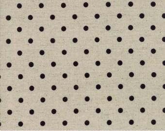 Fabric by the Yard - Moda Linen Mochi Dot Black