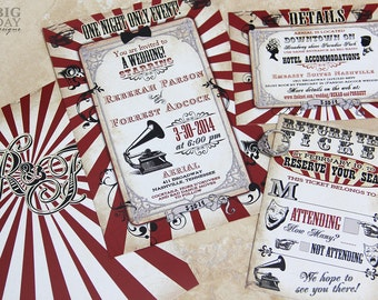 Carnival Wedding Invitations Rustic Carnival Wedding