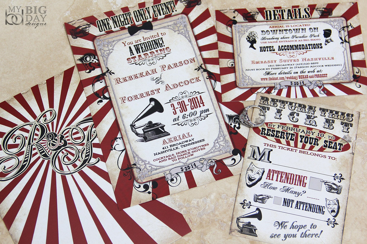 Vintage Carnival Themed Wedding Invitation. Circus themed