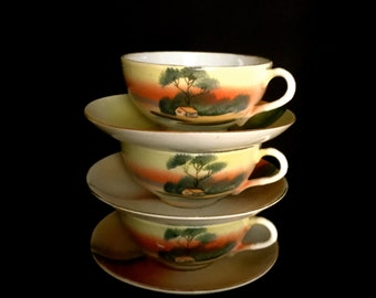Set of 3 Vintage Noritake Cup and Saucers               VG2347