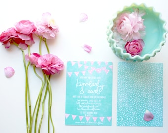 Mint & Coral Wedding Invitations w/ RSVP Cards / Fiesta Fun and Casual for Bunting Weddings / PRINTED Wedding Suite / Wedding Set