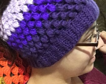 Tri color Puff Stitch Messy Bun Hat