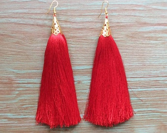 Red Earrings, Tassel Earrings, Long Red Earrings, Tassel Jewelry, Silk Tassel Earrings, Statement Jeweley, Dangle Earrings