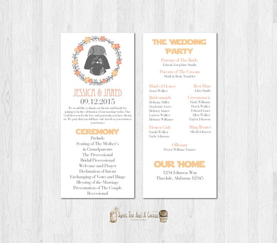 Star Wars Wedding Program Darth Vader Printable Download