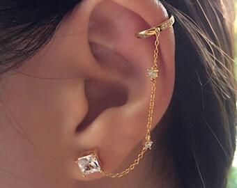 Ear Cuff Gold Ear Cuffs Chain Earrings Dainty Earrings Stud Earrings Modern Earrings Minimal Earrings Ear Cuff Chain Studs Chain Ear Wrap