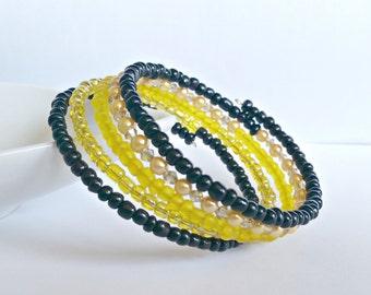 Memory wire bracelet. Yellow Swarovski crystals and Glass pearls. Wrap bracelet