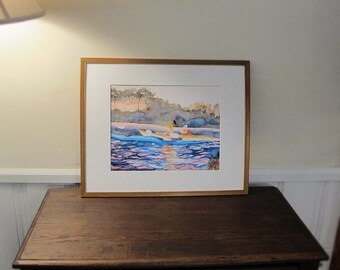 Large Print of Silk Painting Kayaking Long Island , In 16 x 20 In Mat Included, 11 x 14  Inch Print