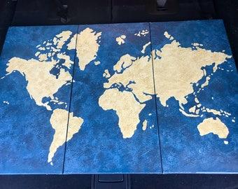 3-Paneled World Map Painting