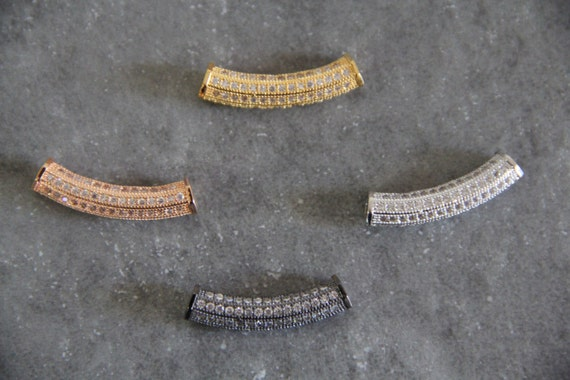CZ Micro Pave 6x30mm Curve Tube