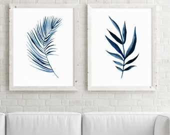 Blue Palm Leaves Set of 2 print watercolor painting nature