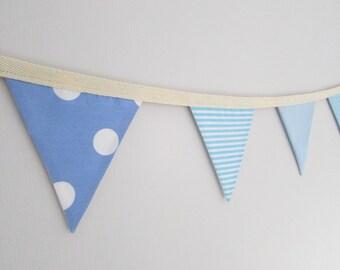 Baby Blue Mini Fabric Bunting, baby shower, baby boy, nursery, stars, spotty, stripes