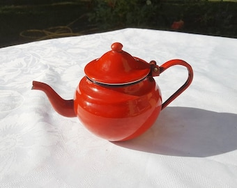 French vintage red enamel kettle, antique enamel teapot. enameled pot, kitchen decor