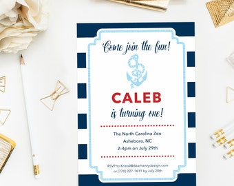 Nautical 1st Birthday Invitation, First Birthday Invite, Navy Blue and Red Stripes, Anchor for Little Boy, 2nd Birthday, Turning One