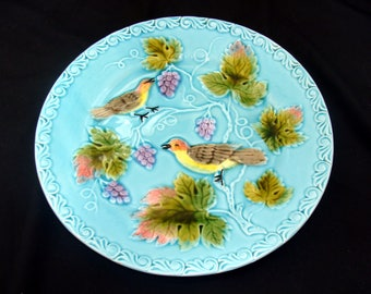 Vintage majolica bird plate-beautiful old german china-french country