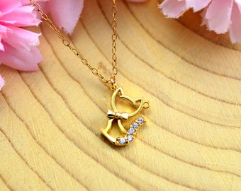 Gold cat jewelry Etsy