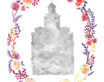Logan, Utah LDS watercolor temple print and floral wreath