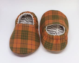 Baby Shoes / Orange Plaid / Green Plaid / Vegan Baby / Moccasins / Childrens Indoor Shoes / Vegan Moccs / Soft Soled Shoe / Montessori Shoes