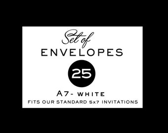 """Envelopes, A7 Envelopes, White, 5 x 7 Envelopes, Set of 25 Envelopes, Perfect for 5 x 7"""" Invitations and Cards by P27Creative"""