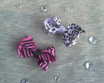 Girls Animal Print Hair Clips - Set of 2 - Hot Pink Zebra & Purple Leopard