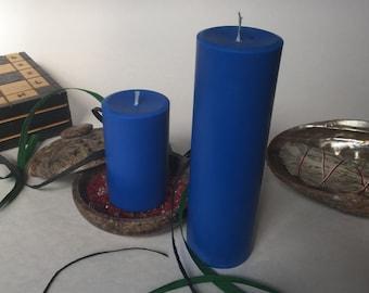 Blue Soy Wax Pillar Candles