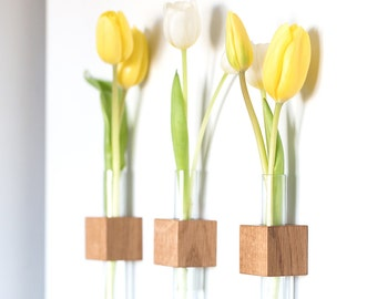 Wooden flower vase - magnetic bud vase - test tube vase -wood vase - small vases - vase decor - office decor - flower vase - magnetic vases
