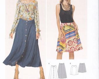 FREE US SHIP Burda 6635 Sewing Pattern Skirt Seamed Button front Boho HIppie Mod maxi Mini New Size 8 10 12 14 16 18 Waist 24 26 28 32 32