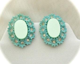 Vintage Clip On Earrings Baby Blue Acrylic Rhinestone made in Japan 1950s