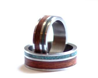 Titanium Wedding Ring Sets, Mahogany and Turquoise Wedding Rings, Titanium Mens Ring, Women Ring