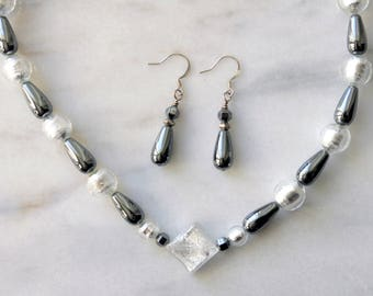 Statement Murano Italian Glass and Hematite Necklace