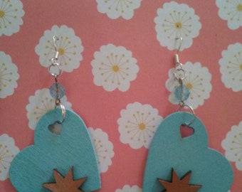 Aqua heart and atomic star drop earrings