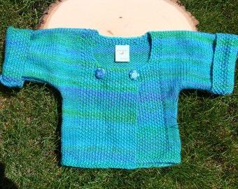 shades of sea handspun handknit baby sweater