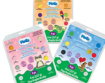 Pluffy Soft  Fluffy kid friendly modeling clay variety  kits , the clay that never dries out bake it to harden by Sculpey Polyform,