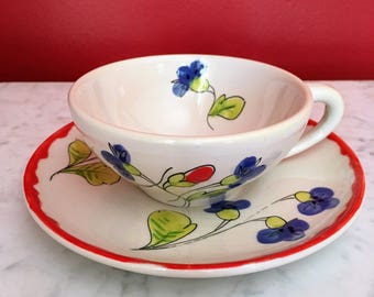4 Mancioli Ceramic Tea Cups & Saucers. Floral Tea Cups Mid Century Ceramic Hand Painted Italy Italian MCM Pottery Dishes Floral
