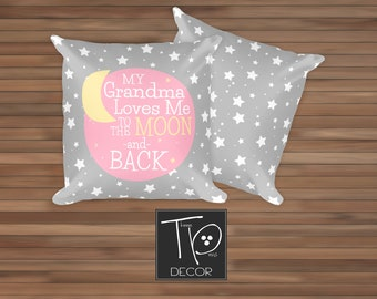 Gift for Grandchild, To the Moon and Back Nursery Decor, Moon and Stars Pillow, Gift for New Baby, Gift for new Grandchild, Baby Gift