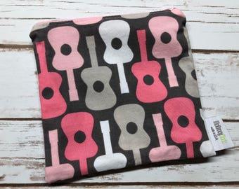 Reusable Snack Bag ~ Reusable Sandwich Bag ~ Reusable Lunch Bag ~ Eco Friendly ~ Water Resistant ~ Zipper Pouch in Pink Guitars