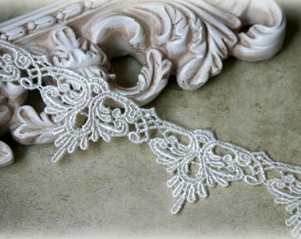 Lace  Fabric Trim, Ivory Lace Fabric, Guipure Lace, Venice Lace, Bridal Lace, Lace Applique, Sewing Lace, Crafting Lace GL-005