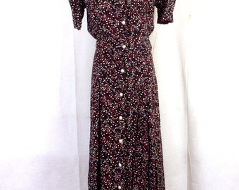 vtg 80s 90s No Boundaries Tiny Floral Rayon Maxi Dress Fit & Flare GRUNGE 11/12