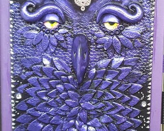Purple polymer clay owl journal