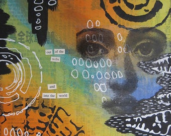 out of the webs - 8 x 10 ORIGINAL MIXED MEDIA by Nancy Lefko