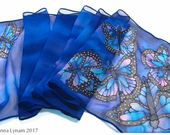 """Hand painted silk scarves. 11x58""""~Butterfly Silk Scarf. Monarch Butterfly scarf. Painted silk scarf. Blue silk scarf~Hand painted silk scarf"""