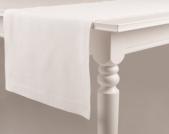 White table runner made of pure linen Classic hem Mitered corners Custom color soft table linens