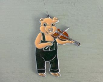 Vintage Acrylic Pig Playing Violin Ornament