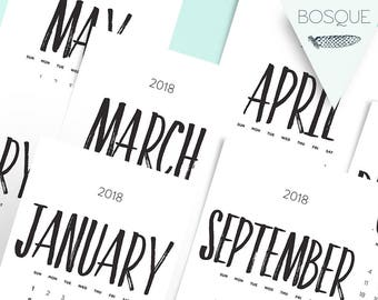 2018 Calendar Printable A5, A4 and Us Letter. 3 sizes. Handwritting Printable Calendar. Wall Calendar. Desk Manager. 2018 Monthly Calendar.
