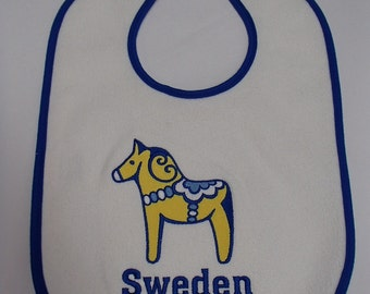 Scandinavian Embroidered Baby Bib -  Sweden with Dala Horse