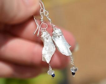 Raw Stone Drop Earrings. Raw Selenite Silver Earrings. Long Silver Chain Earrings. Stone Jewelry Silver Jewelry Healing Free Shipping Israel