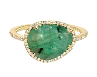 Diamond emerald ring, 14k solid gold