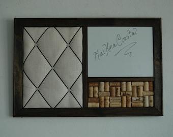 Wine Corkboard, Magnetic Whiteboard U0026 French Memo Board Wall Organizer,  Rustic Decor, Office Decor, Kitchen Organizer, Wine Decor