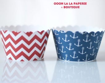 MADE TO ORDER Ahoy There Nautical Cupcake Wrappers- Set of 12, different sizes available