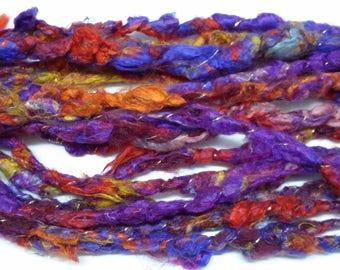 "Handspun Corespun Art Yarn - ""Bright Pancies"" - 100% Silk - 30 yds"